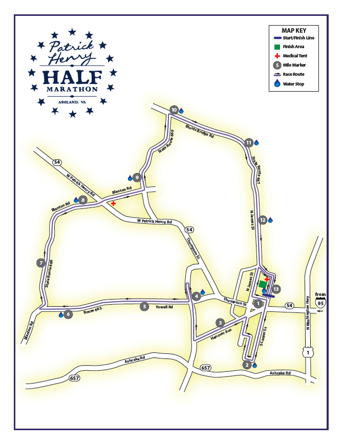 Patrick Henry Half Marathon Course Map
