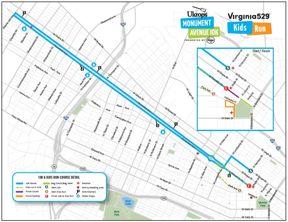 Ukrop's Monument Avenue 10k Course Map