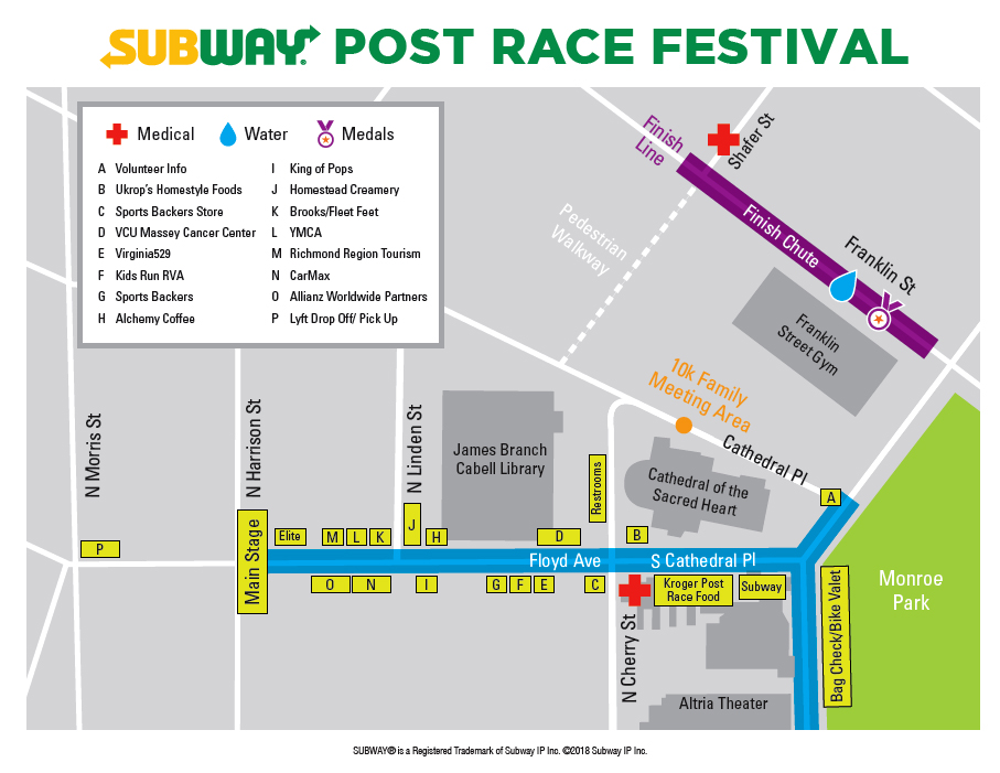 SUBWAY Post Race Festival Map